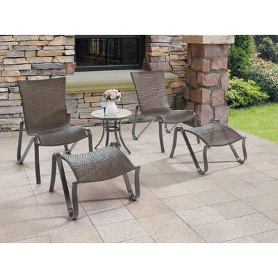 Furniture-Wicker 5 Piece Lounge Seating Group