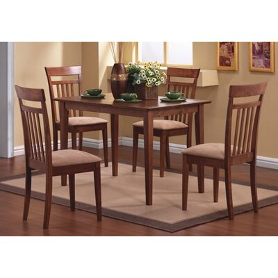 Cheap Wildon Home West Hollywood 5 Piece Dining Set with Four Cushion Seat Chairs in Walnut (CST1970)