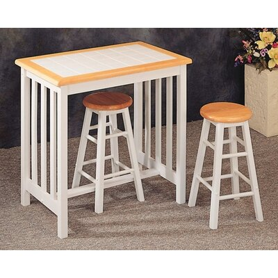 Image of Wildon Home Bay City 3 Piece Mission Breakfast Table Set (CST2215)