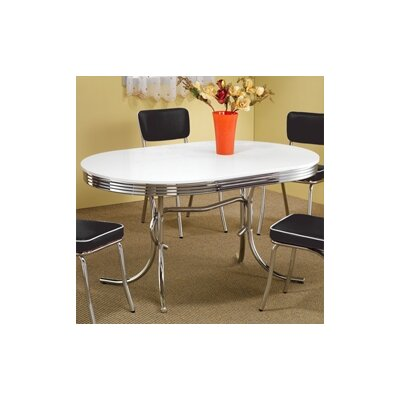 Wildon Home Peyton Retro Round Dining Table In Chrome White CST2237 Dinin