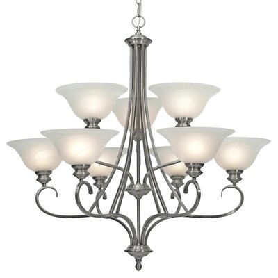 Alberta 9-Light Shaded Chandelier Finish: Pewter