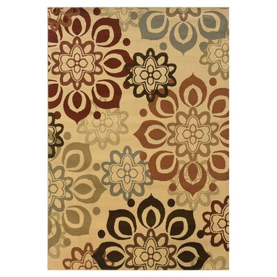 Harper Beige/Rust Area Rug Rug Size: Rectangle 53 x 73