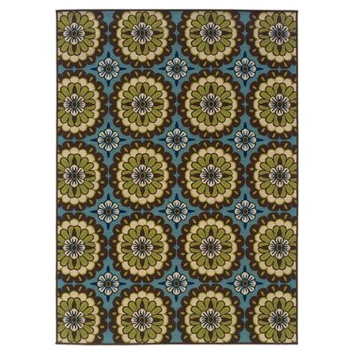Newfield Blue/Brown Indoor/Outdoor Area Rug Rug Size: 37 x 56