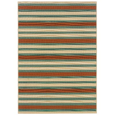Brendel Hand-woven Blue/Ivory Indoor/Outdoor Area Rug Rug Size: Rectangle 37 x 56