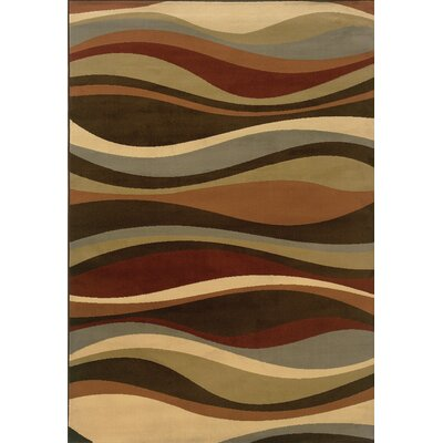 Harper Brown/Green Area Rug Rug Size: 53 x 73