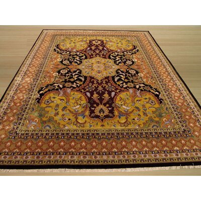 Nindaura Hand-Knotted Gold/Black Area Rug Rug Size: Rectangle 4 x 6