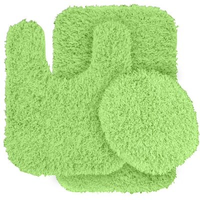 Dextra 3 Piece Blue Bath Rug Set Color: Lime Green