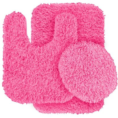 Dextra 3 Piece Blue Bath Rug Set Color: Pink