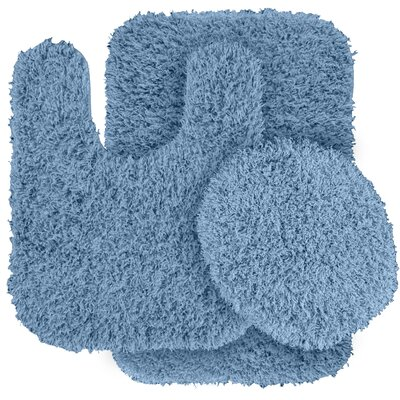 Dextra 3 Piece Blue Bath Rug Set Color: Basin Blue