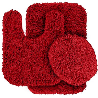 Dextra 3 Piece Blue Bath Rug Set Color: Chili Pepper Red