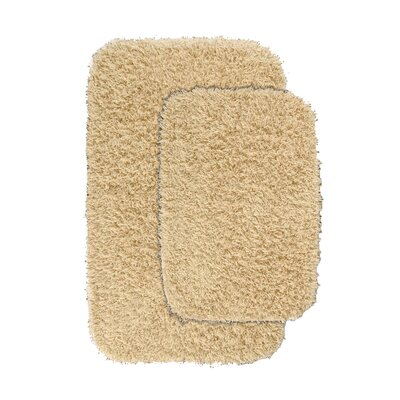 Devie Blue Bath Rug Set Color: Linen
