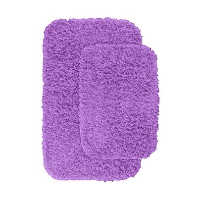 Devie 2 Piece Blue Bath Rug Set Color: Purple