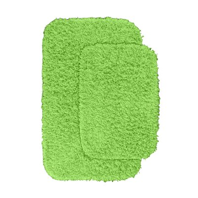 Devie 2 Piece Blue Bath Rug Set Color: Lime Green