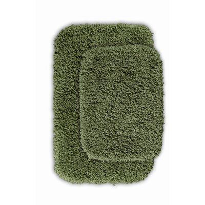 Devin 2 Piece Black Bath Rug Set Color: Deep Fern