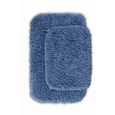 Devin 2 Piece Black Bath Rug Set Color: Basin Blue