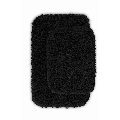 Devin 2 Piece Black Bath Rug Set Color: Black