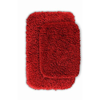 Devin 2 Piece Black Bath Rug Set Color: Chili Pepper Red