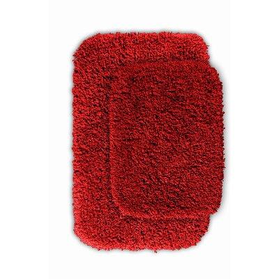 Devin Black Bath Rug Set Color: Chili Pepper Red