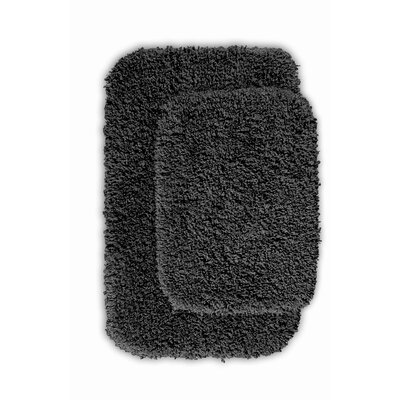 Devin 2 Piece Black Bath Rug Set Color: Dark Gray