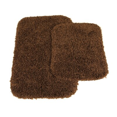 Devin Black Bath Rug Set Color: Chocolate