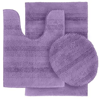 Deyanira 3 Piece Green Bath Rug Set Color: Purple