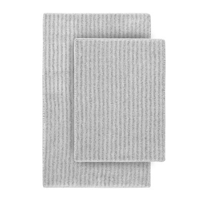 Devinne 2 Piece Red Bath Rug Set Color: Platinum Gray