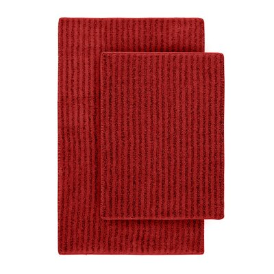 Devinne 2 Piece Red Bath Rug Set Color: Chili Pepper Red
