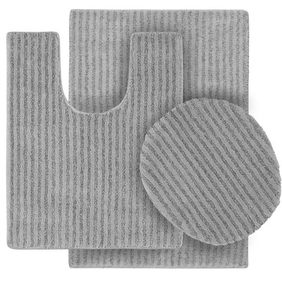 Breyanna  Bath Rug Color: Platinum Gray