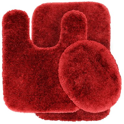 Deyor Bath Rug Set Color: Chili Pepper Red