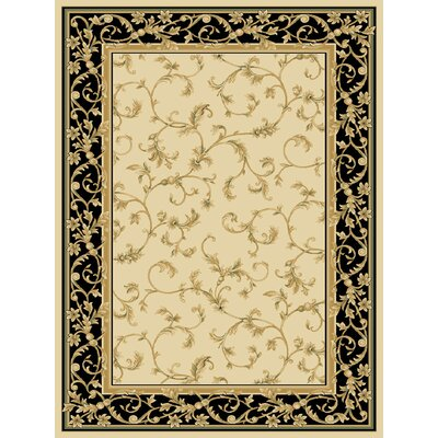 Deondra Wheat/Black Area Rug Rug Size: 33 x 53