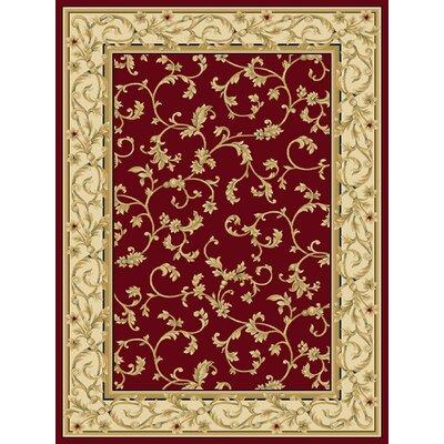 Chelsa Crimson/Wheat Area Rug Rug Size: 26x8