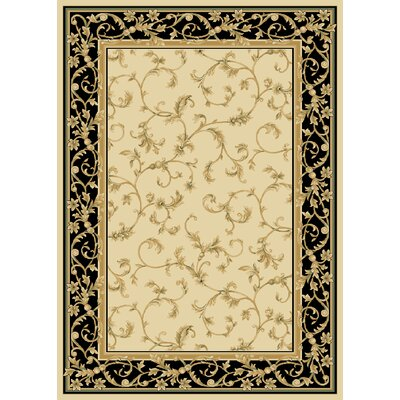 Dereca Wheat/Black Area Rug Rug Size: 26x8