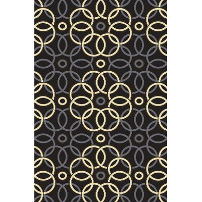 Caelin Black/Yellow Area Rug Rug Size: 710 x 910