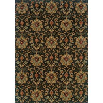 Wildon Home Kingston Floral Black/Gold Area Rug - Rug Size: Runner 1'11