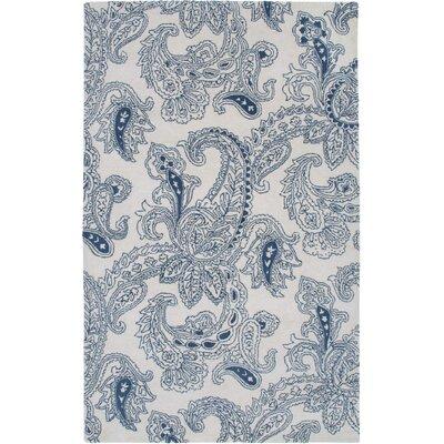 Amayble Hand-Tufted Ivory/Blue Area Rug Rug Size: 3 x 5