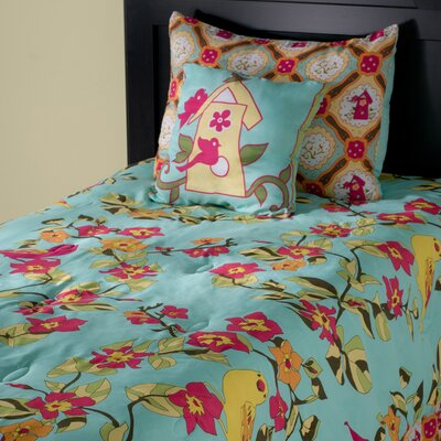 Birds in Paradise Kids 3 Piece Reversible Comforter Set Size: Twin