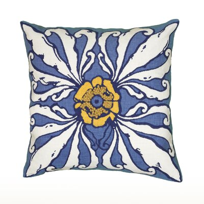 Cyntia Throw Pillow Color: Blue / White