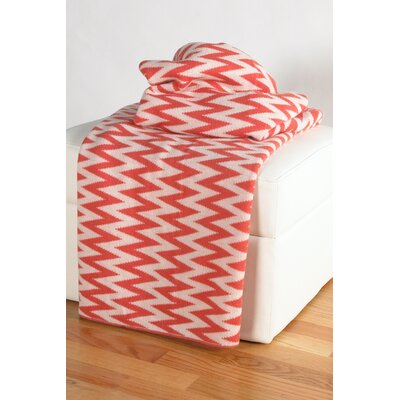 Destinie Woven Cotton Throw Blanket Color: Coral