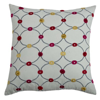Charesse  Cotton Blend Throw Pillow Color: Red / Pink