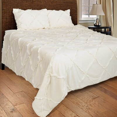 Diondra 3 Piece Quilt Set Size: Twin, Color: Ivory