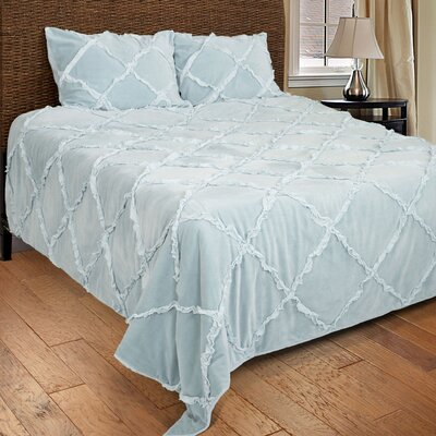 Diondra 3 Piece Quilt Set Color: Light Blue, Size: King