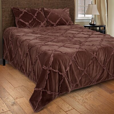 Diondra 3 Piece Quilt Set Size: Queen, Color: Chocolate Brown