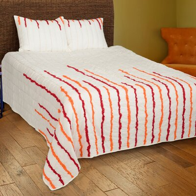 Dionis  4 Piece Quilt Set Size: Full/Queen, Color: Ivory/Red/Orange