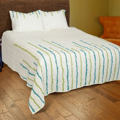 Dionis  4 Piece Quilt Set Color: Ivory/Lime/Teal, Size: King