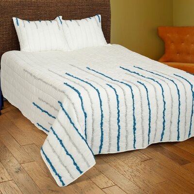 Dionis  4 Piece Quilt Set Color: Ivory/Blue/Silver, Size: King
