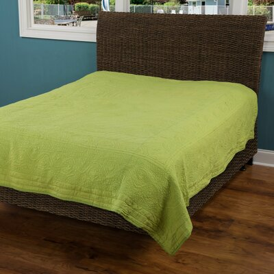 Corinna  Matelasse Quilt Size: King, Color: Lime