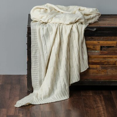 Chandee  Cable Knit Cotton Throw Color: Cream/Silver