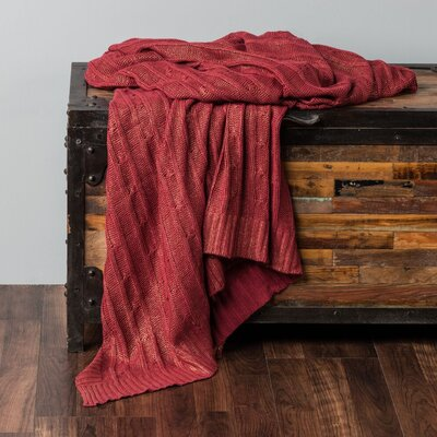 Chandee  Cable Knit Cotton Throw Color: Red/Gold