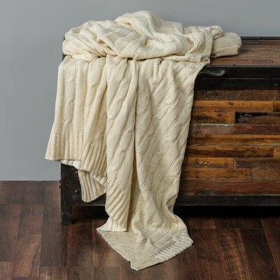 Chandee  Cable Knit Cotton Throw Color: Cream/Gold