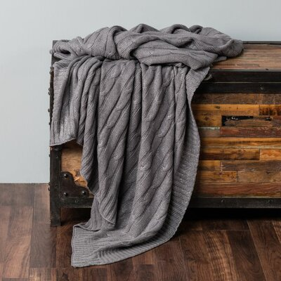 Chandee  Cable Knit Cotton Throw Color: Gray/Silver